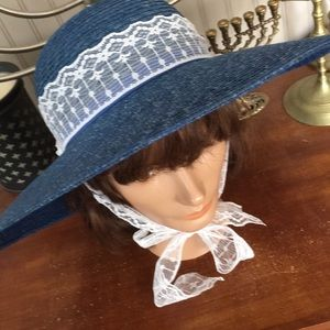 Made in Italy 1980s Blue Straw&Lace Wide Brim Hat